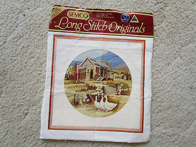 Semco Long Stitch Kit Of An Old Miner's Cottage 28Cms Round
