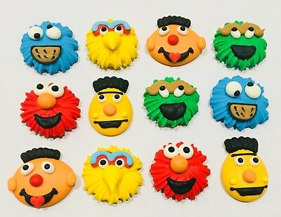 12 x Edible Sesame Street Cupcake Toppers Decorations Party Cake Topper Supplies