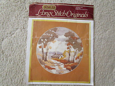Semco Partly Started Long Stitch Kit Of The Bush Cabin 28Cms Round
