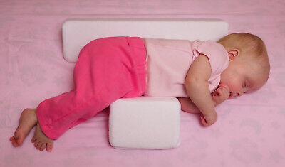 BABY SLEEP SUPPORT PILLOW - ADJUSTABLE WIDTH 100% Cotton Covers Breathable Foam