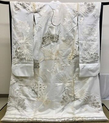 Japanese vintage antique SHIROMUKU White Wedding KIMONO UCHIKAKE Embroidery Silk