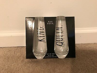 Rae Dunn King Queen Stemless Flutes Flute Party Wedding New Toast Champagne