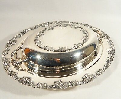 Silver Plate OVAL Covered ENTREE DISH GRAPE & VINE Casserole Serving  12 inch