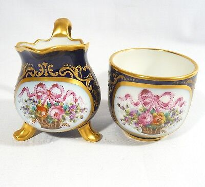 Antique HAND PAINTED Cobalt Blue Small Cream & Sugar Bowl Sevres Jean Tandart