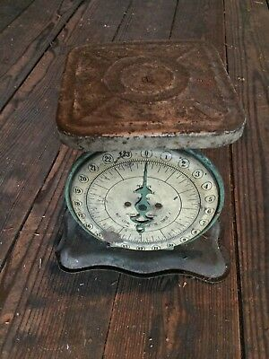 Rustic Green Pelouze Deluxe Scale Farm Kitchen Art Deco 24Lb Antique Vintage
