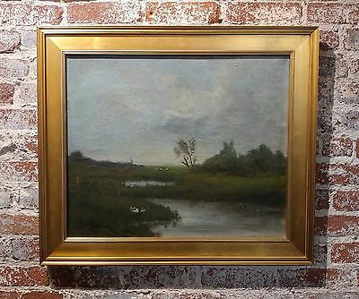 Anton Van Anrooy (1870-1949) Dutch River Landscape -Oil Painting