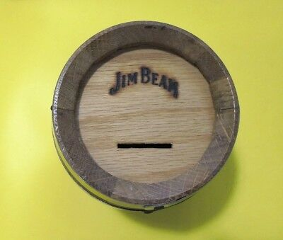 Unusal Jim Beam Wooden Barrel Money Box From Usa