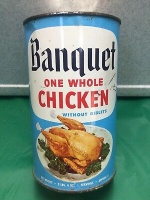 Rare Full Unopened One Whole Chicken Without Giblets Old Grocery Advertising Tin