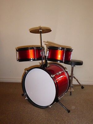 Kids Drum Set Red 3 piece - Plus stool,cymbals and sticks