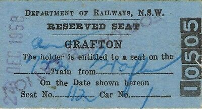 Railway tickets a reserved seat from Grafton by the old NSWGR in 1958