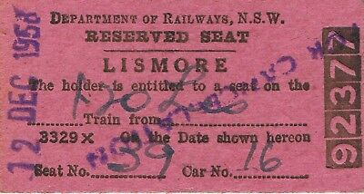 Railway tickets a reserved seat from Lismore by the old NSWGR in 1958