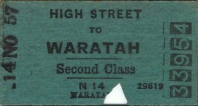 Railway tickets a trip from High Street to Waratah by the old NSWGR in 1957