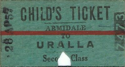 Railway tickets a trip from Armidale to Uralla by the old NSWGR in 1957