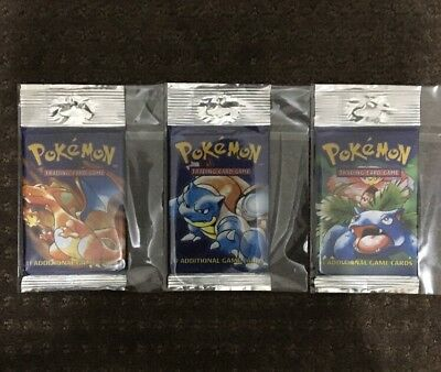 3 X NEW Pokemon Base Set Booster Long Pack 1999 (Guaranteed Unweighed)