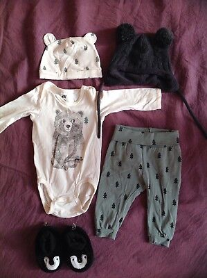 H&M team forest baby outfit, jumpsuit, pants, booties, 2 x beanies!