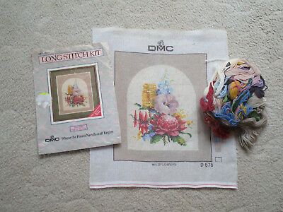 Dmc Vintage Long Stitch Kit Of Wildflowers 30 X 35 Cms. Colour Printed Canvas
