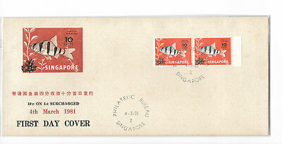Singapore 1981 10 cents on 4 cents surcharged private FDC #01