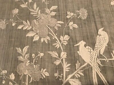 Peking Knot Pheasant Birds Chinese Antique Embroidered Tablecloth Piano Shawl