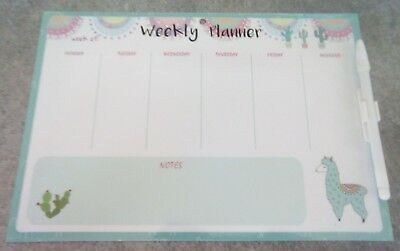 """WEEKLY """"PLANNER"""".- FULLY MAGNETIC-WRITE & WIPE SURFACE with PEN & CliP. ITEM 62A"""