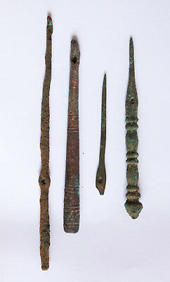 Lot of 4 decorated ancient Roman Bronze Hair and Home use Pins 1-2 century CE