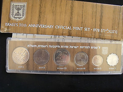 1978 Israel 30th Anniversary Official Mint Set 1 Agora - 1 Lira