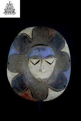 Vintage African Tribal Eket Rainbow Shield Mask, Nigeria, Africa