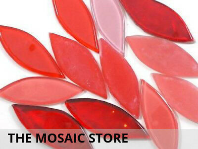 Red Mixed Glass Petals 35 x 20 x 4mm - Mosaic Tiles Craft Art Supplies