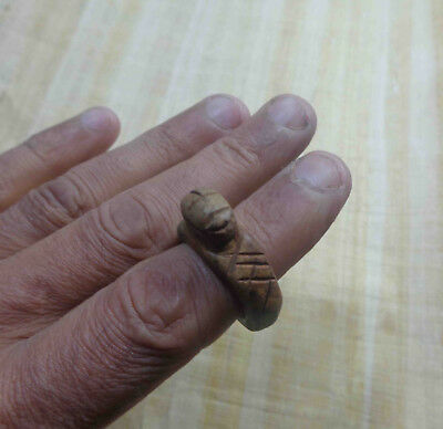 Egyptian Rare Faience Pharaoh Scarab Seal Engraved Finger Ring Hieroglyphic #108