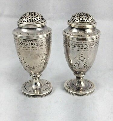 """Victorian 1874 English Sterling London Etched Salt & Pepper Shakers - 3"""" Tall"""