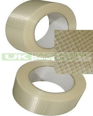 72 LARGE ROLLS OF STRONG 50mm x 50 METRE REINFORCED CROSSWEAVE FIBREGLASS TAPE
