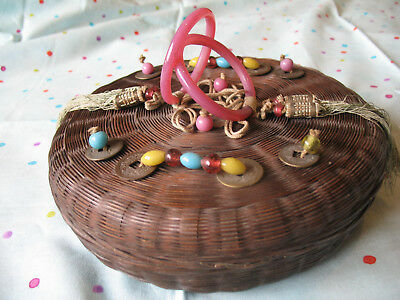 Antique Vintage Chinese Sewing Basket Glass Ring Handles Beads + Coins