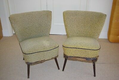Pair of Vintage Cocktail Chairs - to re-upholster