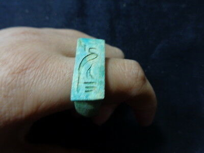 Egyptian Rare Faience Pharaoh Engraved Finger Ring Seal Hieroglyphic #140