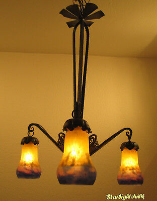 Beautiful French Art Deco Chandelier 1920/25 - Signed: Muller Frès Luneville