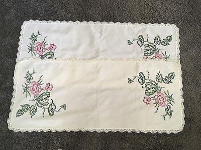 Vintage Pair Of Hand Embroidered Table Runners