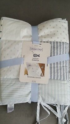 Brand New With Tags Next Ocean Days Cot Bumper Reversible Design Nursery Bedding