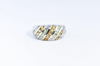 Vintage Deco Genuine Green Peridot And Real Citrine 925 Sterling Silver Ring
