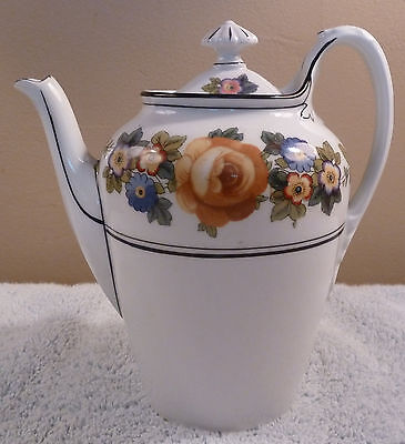 Beautiful vintage Phoenix (Czechoslovakia) floral oval tea or coffee pot