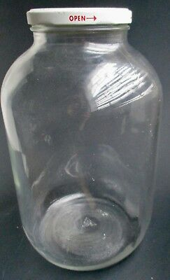 Vintage LARGE One Gallon Clear Glass JAR Container Metal Lid QUALITY PICKLES