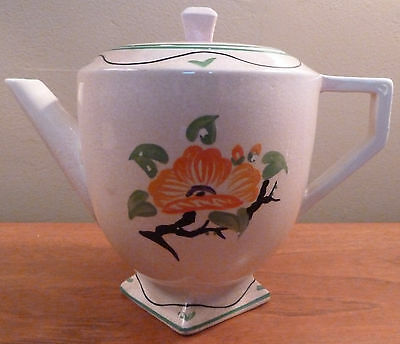 English antique pale pink art deco stylized floral tea, coffee or hot water pot