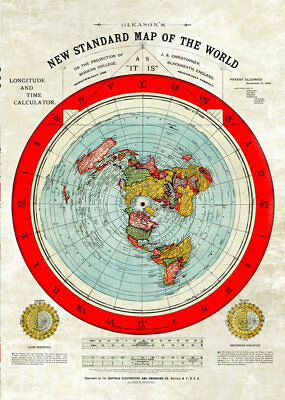 """FLAT EARTH MAP: Restored Gleason's New Standard Map Of The World- 31.3 x 23.4"""""""