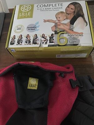 LILLEbaby Complete Airflow 6-in-1 Baby Carrier in Charcoal/Berry Color Preowned