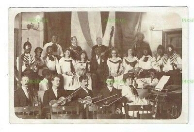 Music Postcard Orhestral Group & Blacked Up Minstrels Real Photo Vintage 1905-10