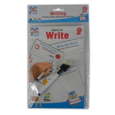 20 Wipe Clean Worksheets with Pen - Writing - Learn to Write Handwriting Letters