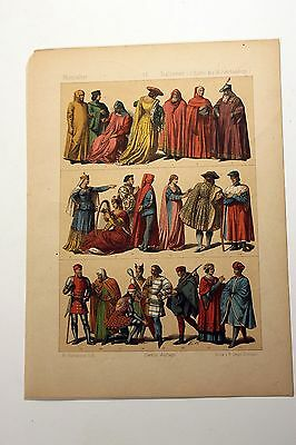 Antique MIDDLE AGES COSTUME Print by F. Hottenroth-1884 ITALIANS 14th Century
