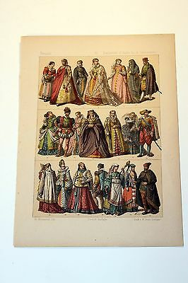 Antique MIDDLE AGES COSTUME Print by F. Hottenroth-1884 ITALIANS 16th Century
