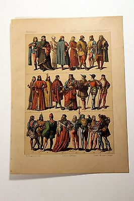 Antique MIDDLE AGES COSTUME Print by F. Hottenroth-1884 ITALIAN 15th Century