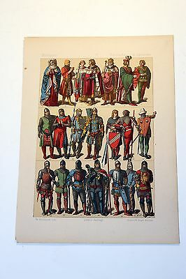 Antique MIDDLE AGES COSTUME Print by F. Hottenroth-1884 GERMAN 14th Century