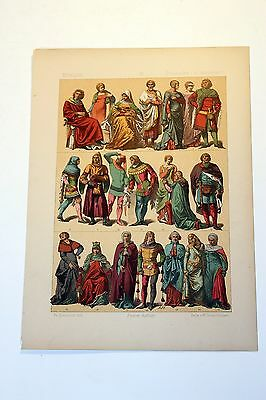 Antique MIDDLE AGES COSTUME Print by F. Hottenroth-1884 GERMAN 14th Century #2
