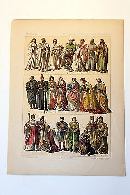 Antique MIDDLE AGES COSTUME Print by F. Hottenroth-1884 SPANISH / PORTUGUESE